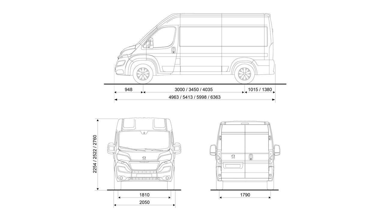 Peugeot Boxer -  technische gegevens exterieur