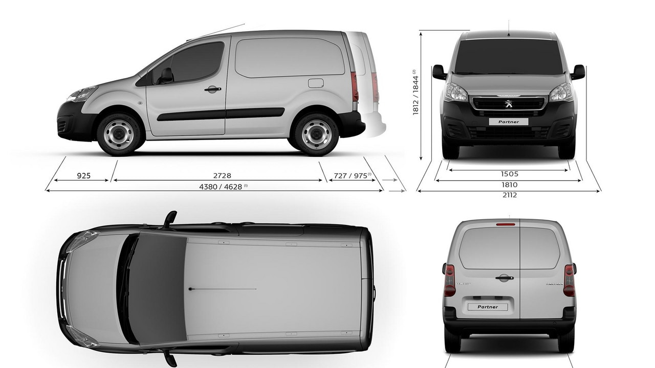 Peugeot Partner -  Technische gegevens - afmetingen
