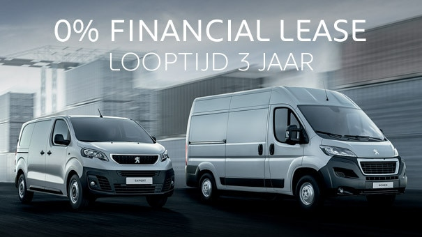 Tijdelijk 0% Financial Lease op alle Peugeot bedrijfsauto's