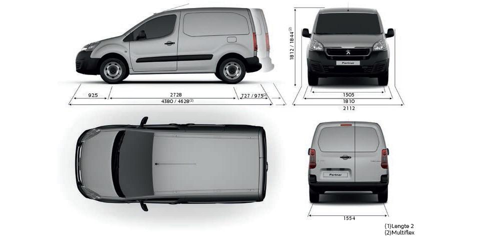 Peugeot Partner Electric - technische gegevens - afmetingen
